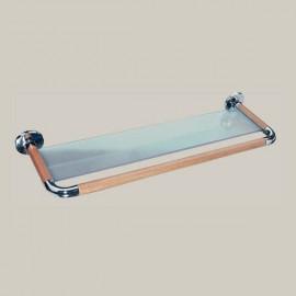 Półka szklana, elementy drewniane, seria D